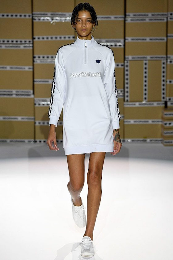 London Fashion Week Hair Model in White Dress