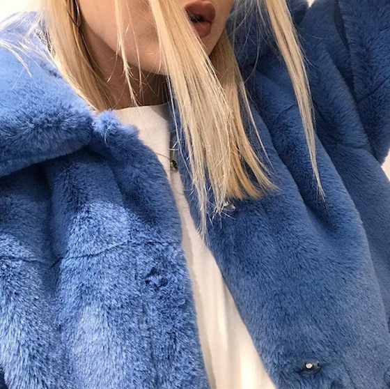 winter hair - blonde model with blue jacket