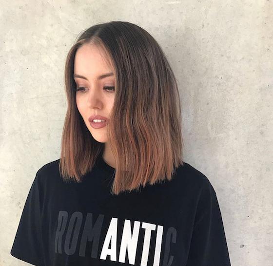 winter hair - brunette model in black t-shirt