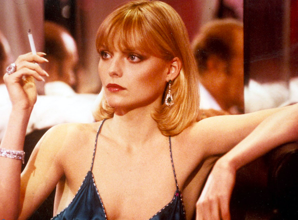 New Years Eve Party Hair - Michelle Pfeiffer smoking a cigarette
