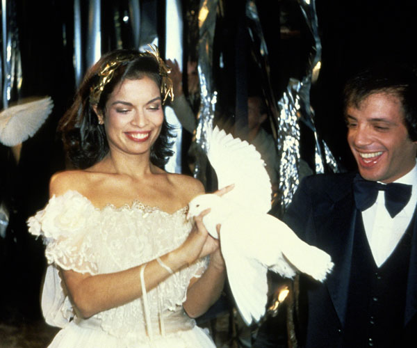 New Years Eve Party Hair - Bianca Jagger holding a dove