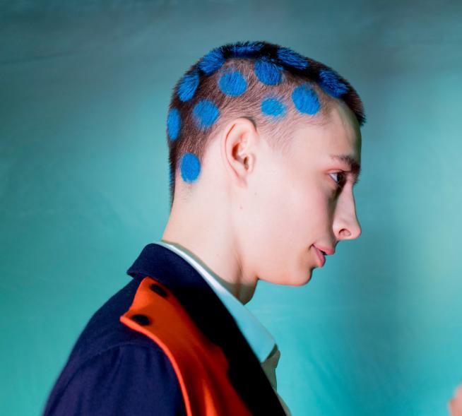 Men's Hairstyles 2018 - Blue polka dots